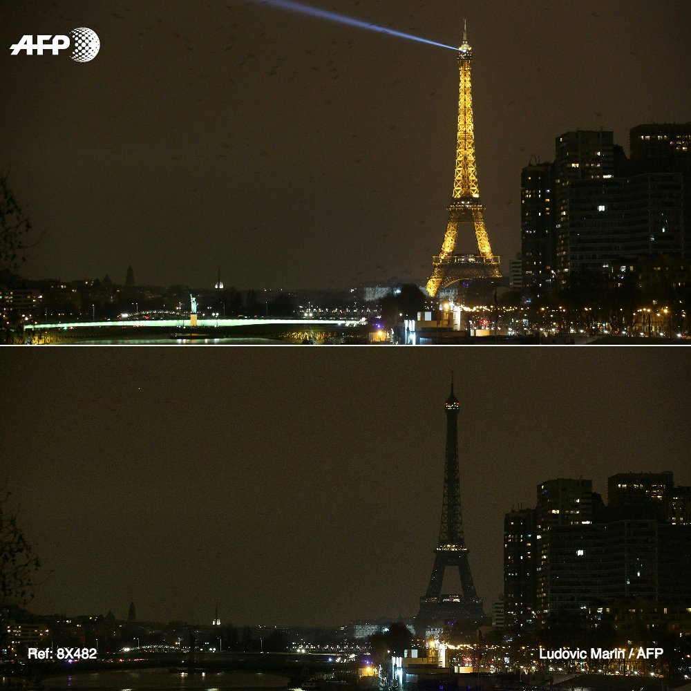 #Climat: au tour de LaTourEiffel d&#39;être plongée dans le noir pour le &quot;Earth hour&quot;   #AFP<br>http://pic.twitter.com/0LOgnr3YIH