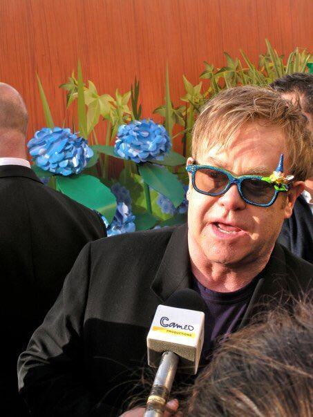 Happy birthday, Elton John! It was my honor to hold the microphone while you got interviewed once.