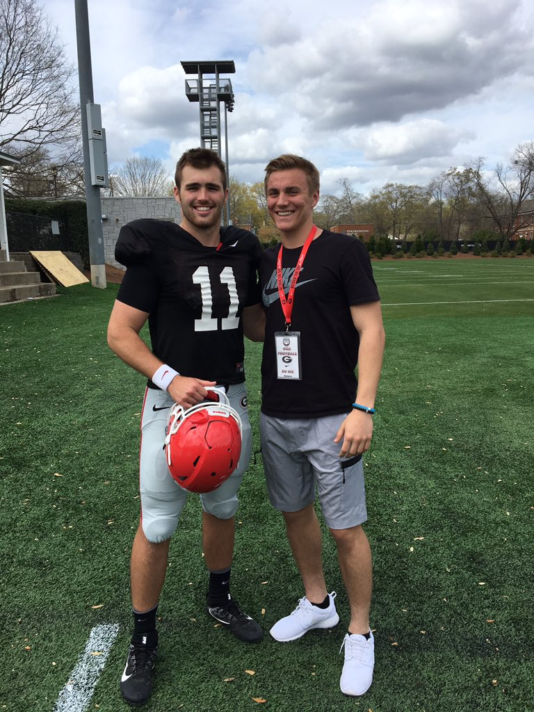 2019 QB Bo Nix (right) with UGA's Jake Fromm (left) - (photo from Bo Nix/Twitter)