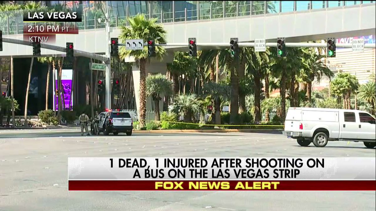News Alert: 1 dead, 1 injured after shooting on a bus on the Las Vegas...