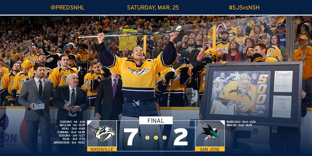 🙌🏻🙌🏻🙌🏻 Homestand sweep for the #Preds. SEVEN goals - Neal and Sissons...