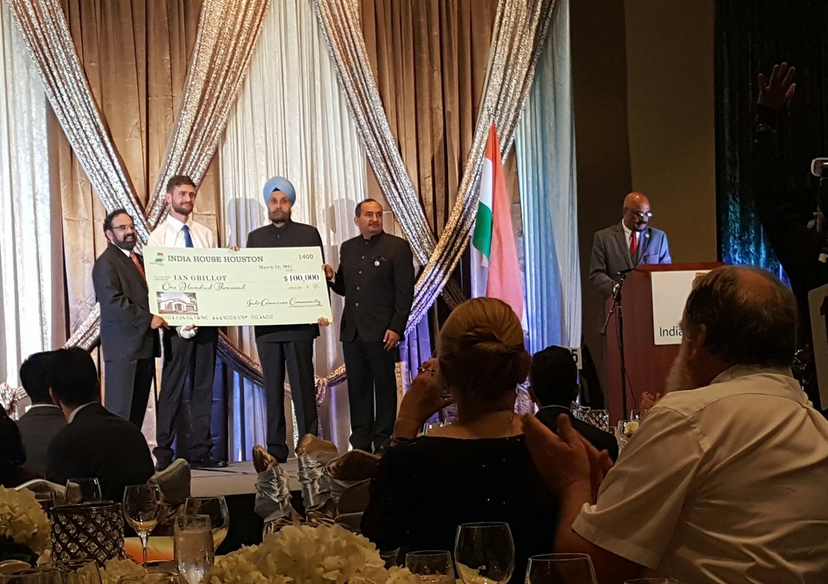 The Indian-American community in Houston raised $100,000 for Ian Grillot, who took a bullet for an Indian in Kansas. https://t.co/imcO7ohrGn
