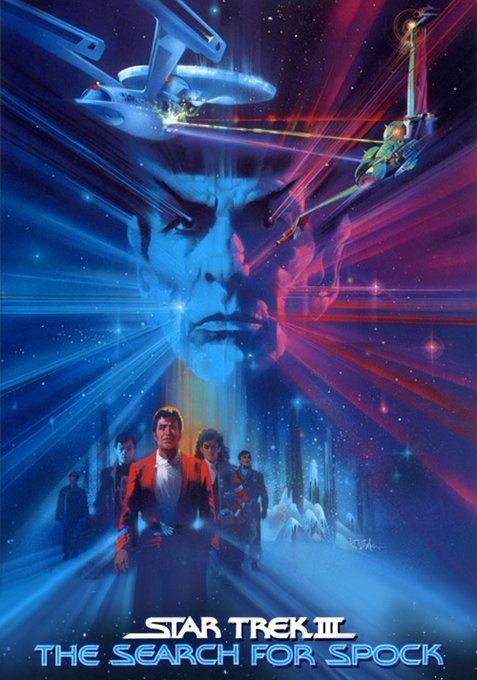 Happy birthday to Leonard Nimoy - STAR TREK III - THE SEARCH FOR SPOCK - 1984 - Promo art by Bob Peak