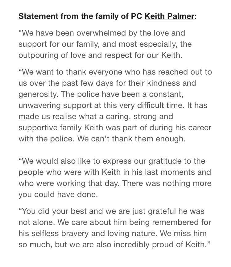 Family of PC Keith Palmer issue statement: https://t.co/G9ZBmbZkWk