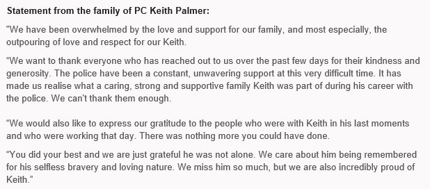 Here is the full statement from the family of Pc Keith Palmer: https:/...