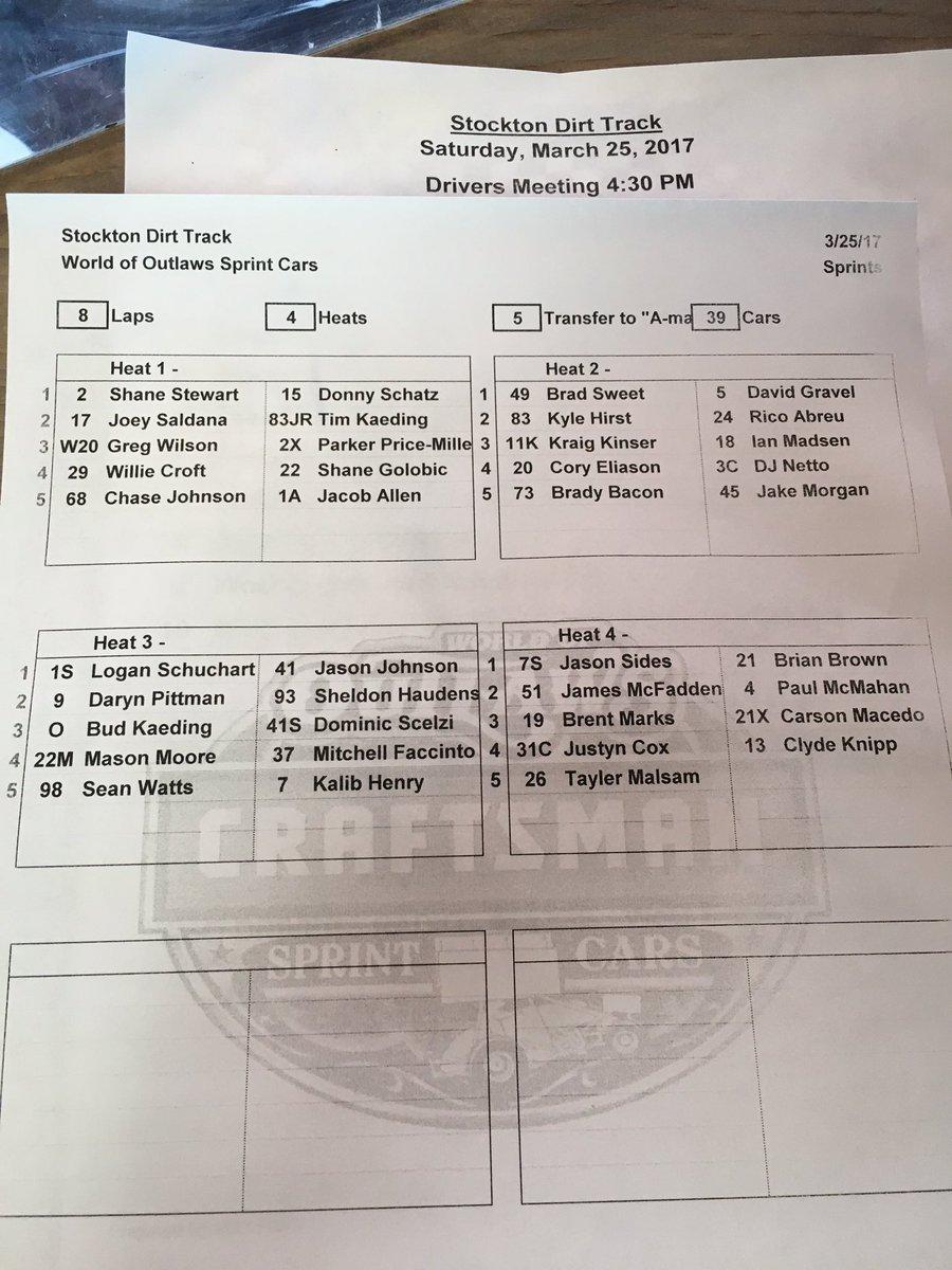 Heat race lineups @StocktonDirt #WoOCraftSCS https://t.co/DF8CRA4mJN