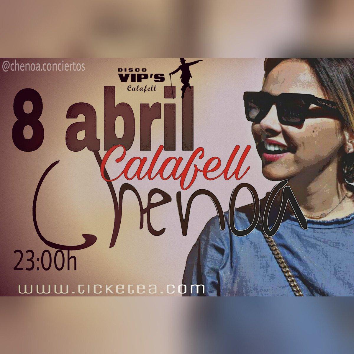 PRÓXIMO CONCIERTO: 8 de abril #CALAFELL  El tour #SoyHumana de @Chenoaoficial llega a la @disco_vips Entradas:  https://www. ticketea.com/entradas-conci erto-chenoa-en-concierto/?tktsrc=search &nbsp; … <br>http://pic.twitter.com/rNFK2Pjlqk