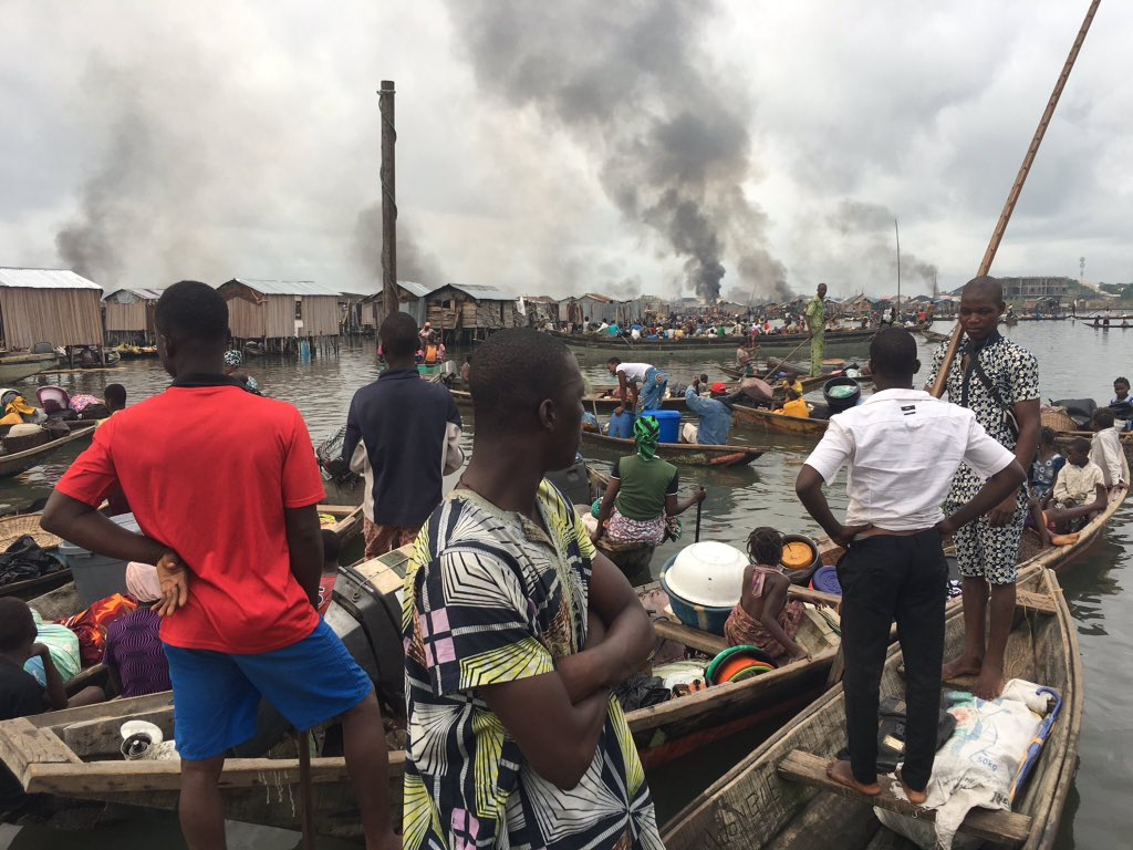 Shocking pictures Of OtodoGbame Residents in Lagos State living and sleeping at open sea after Gov Ambode drove them and burned down their residences.