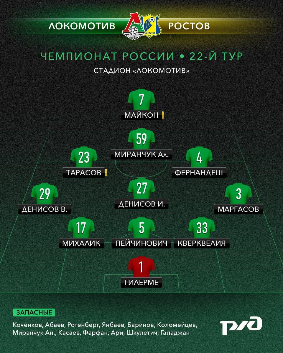 «Локомотив» — «Ростов»: стали известны стартовые составы