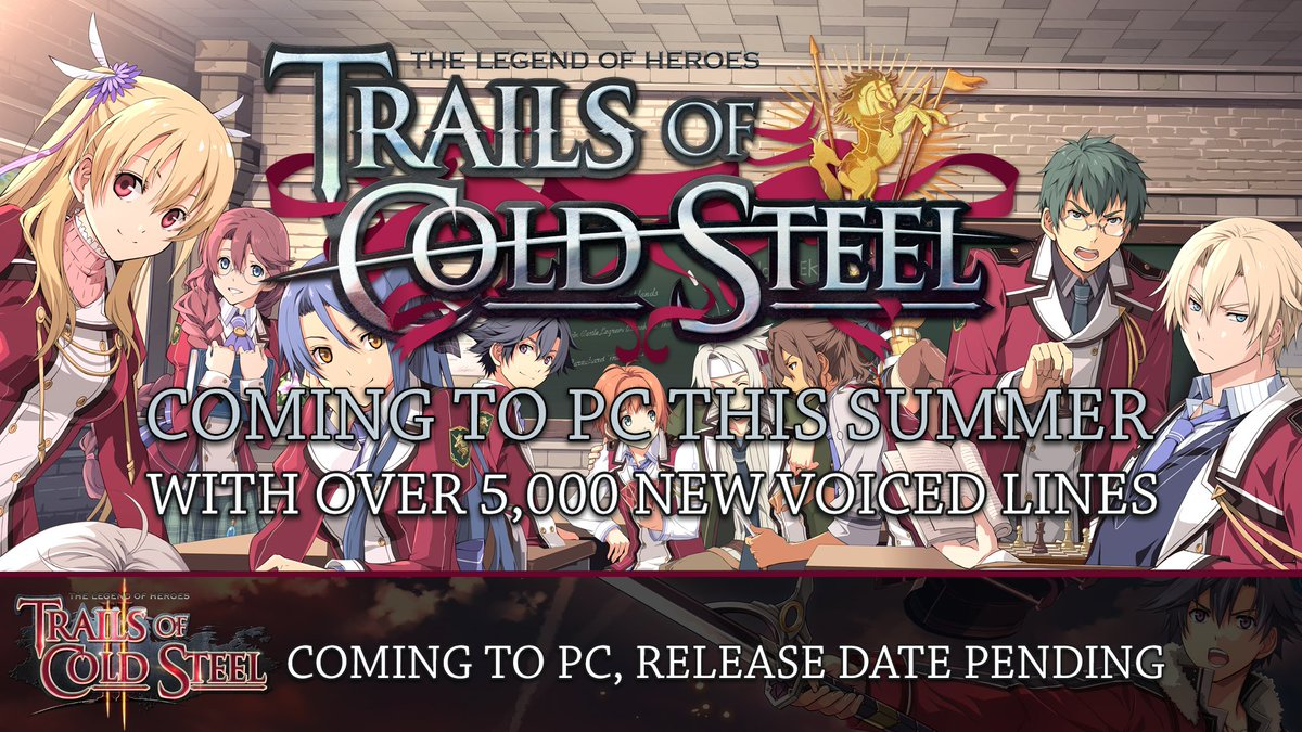Trails of Cold Steel is coming to PC this summer with over 5,000 lines of additional voiceover dialogue! https://t.co/EDMaASTJCQ