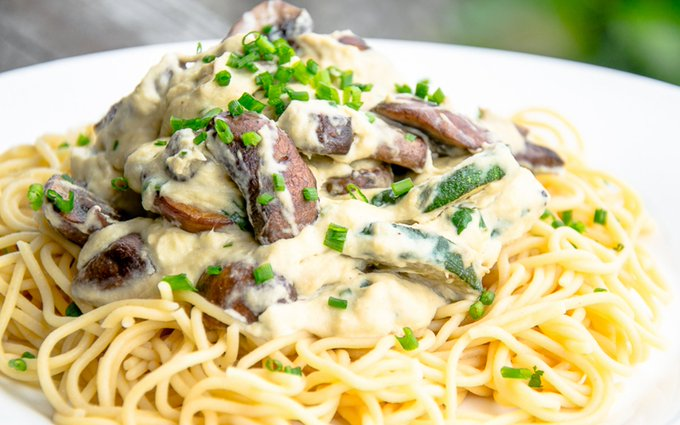Creamy Mushroom Sauce With Spaghetti [Vegan, Gluten-Free]