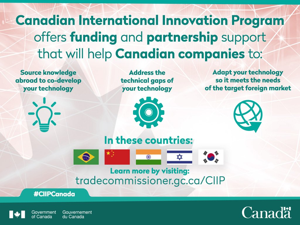 🇨🇦innovators: Our #CIIPCanada program could give you $ to co-develop/adapt/validate your #tech w key int'l partners https://t.co/MRm28BA4fe https://t.co/4zZ8xX7nk8