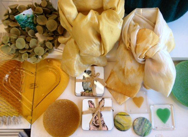 Sunshine yellows - Textiles @michshibori & Jane Nicholls/ Coasters @VicciMurray /Glass @ruthshelleyglas /Handpainted Badges @PickOneWeaver