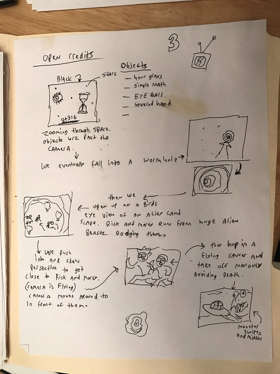 My original rough thumbnails for the Rick and Morty pilot open credits. We changed a lot of this for series.