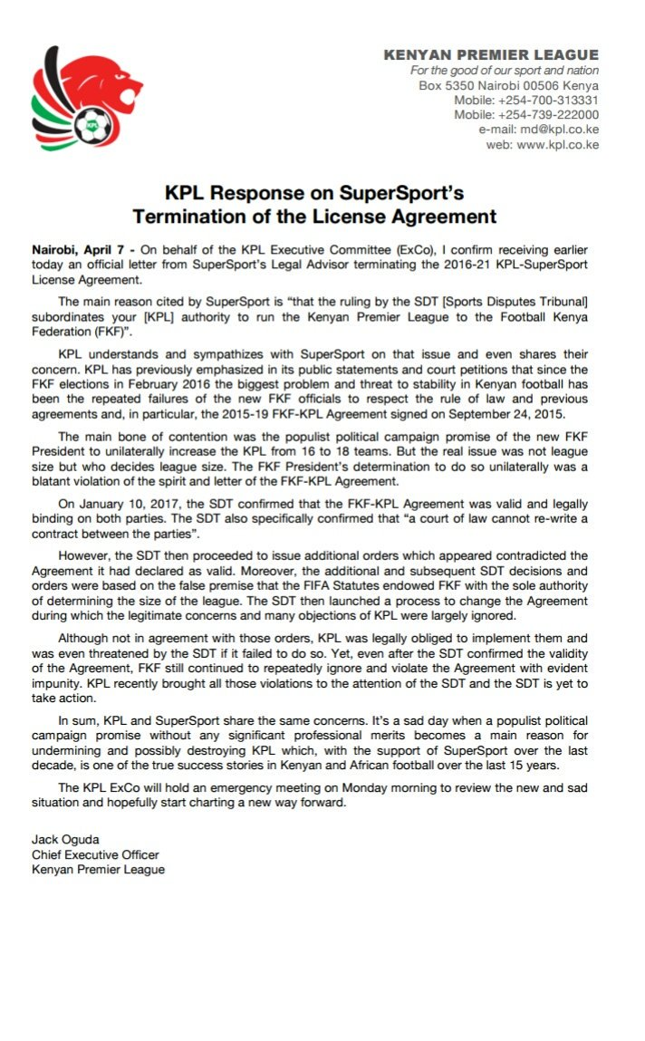 Kpl on twitter kpl statement on supersports termination of 848 am 7 apr 2017 platinumwayz