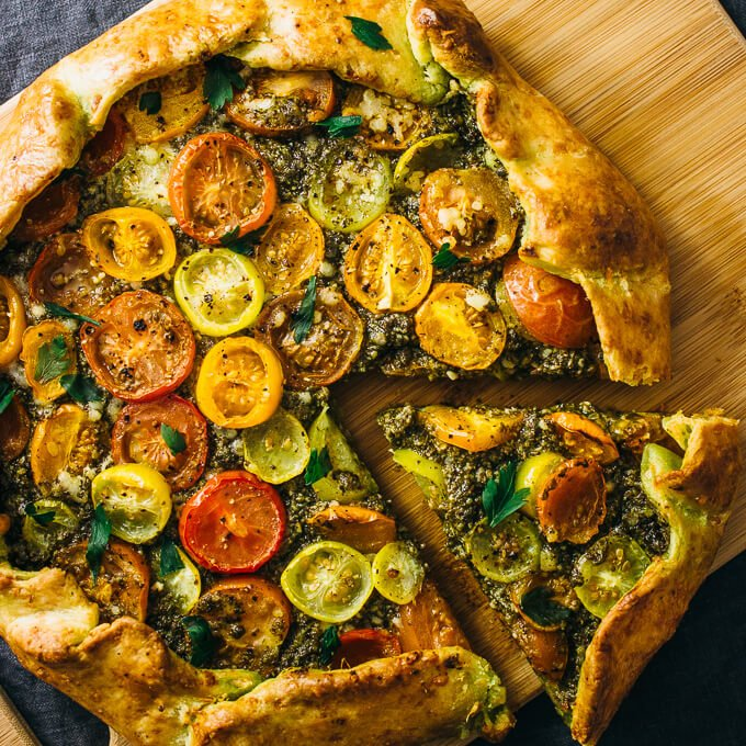 Savory galette with pesto and heirloom tomatoes