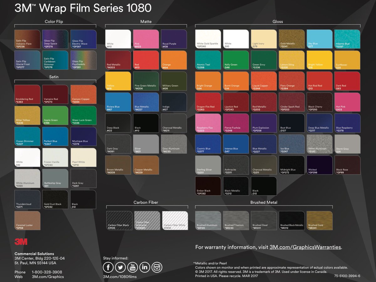 Nd Graphics Edmonton On Twitter 3m 1080 Colour Chart Carwrap