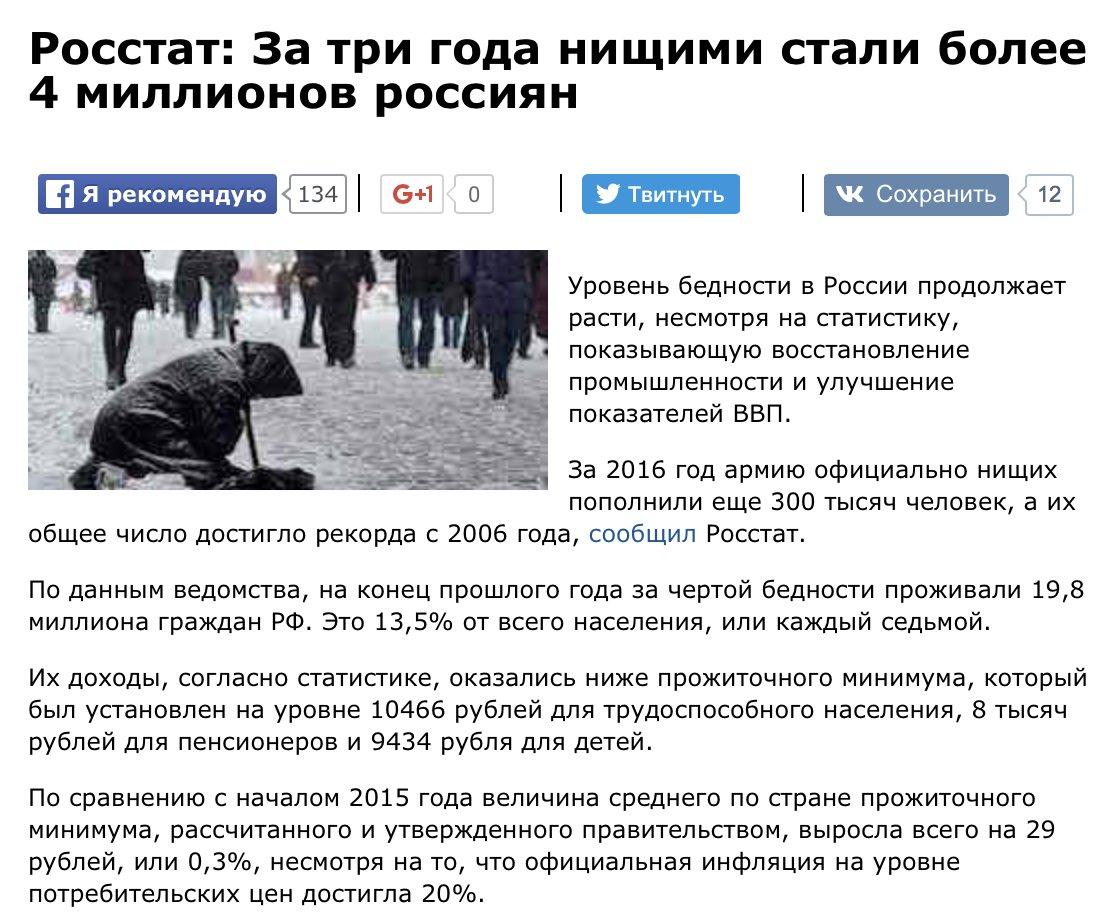 Официально в России 20млн нищих россиян, реально (при прожиточном минимуме в 22тыс руб) нищих 50% населения (75 млн)