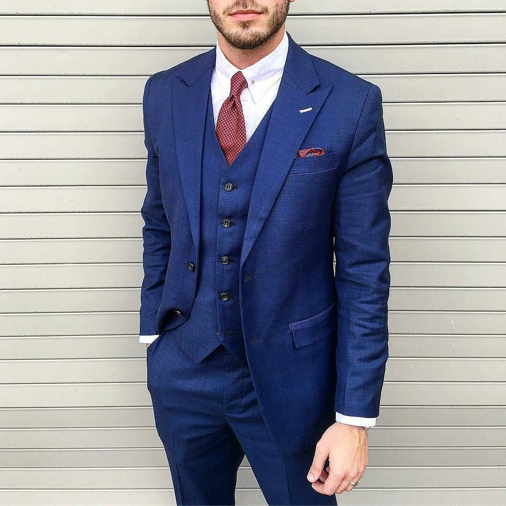 blue shirt white collar tie combination