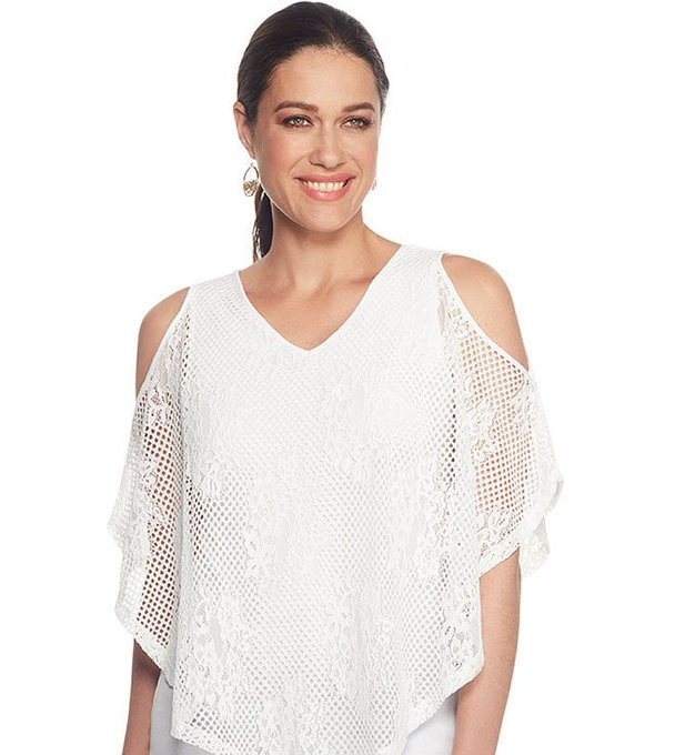 Woven Lace Overlay Blouse