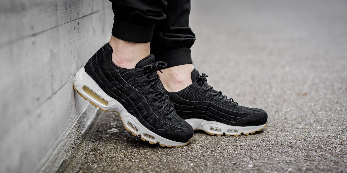 nike air max 95 premium black muslin & white