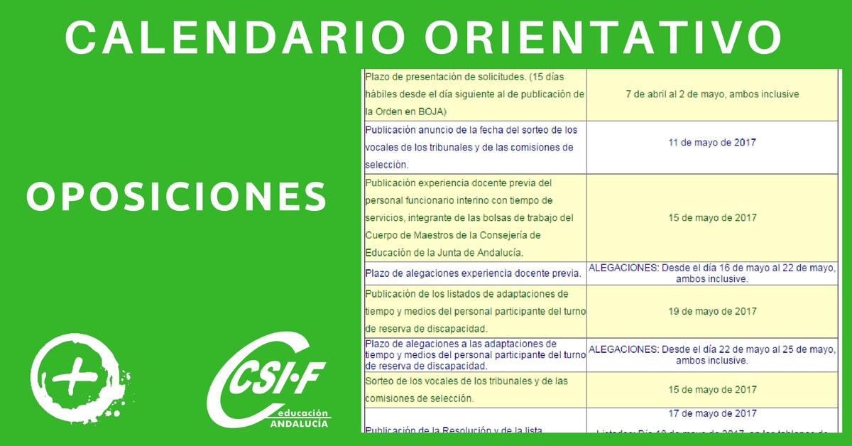 Calendario Oposiciones 2019 Andalucia.Csif Educacion Anda A Twitter Oposiciones 2017 Calendario