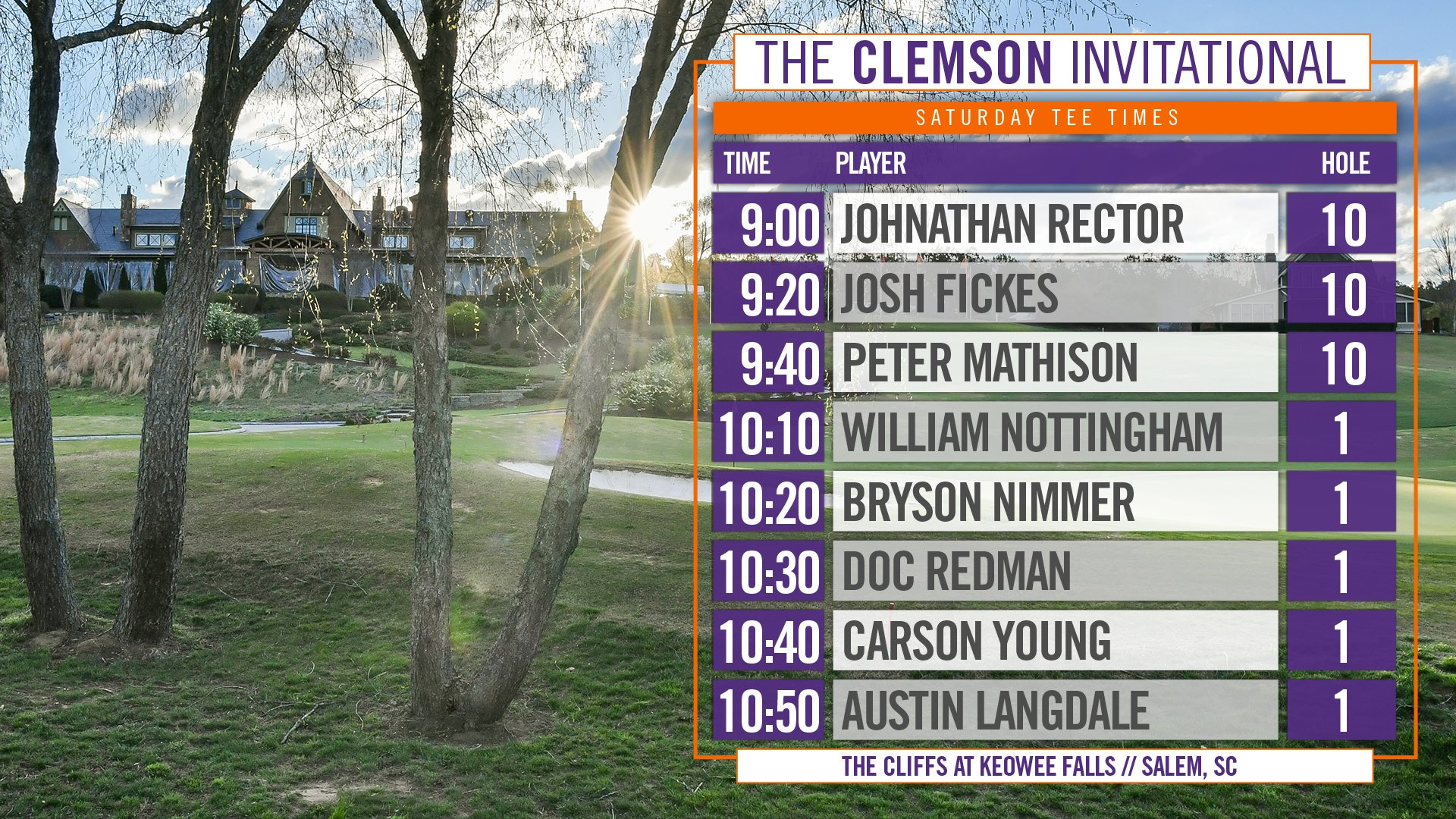 Tiger Tee Times ➡️ #ClemsonInvitational Day 2 ⛳️ Follow from home here: https://t.co/S0ce8b69mS https://t.co/NzbgGxWiYl