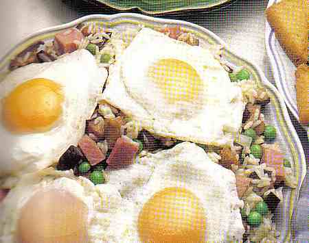 Eggs fried with aubergines and ham recipe