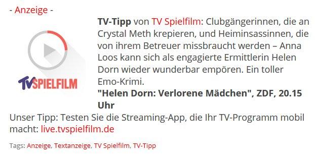 Anzeige Tv Tipp Von Tvspielfilmlive Helen Dorn Verlorene Madchen