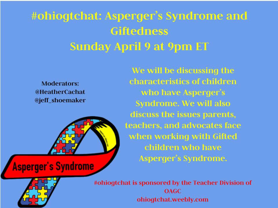 Thumbnail for #ohiogtchat: April 9: Asperger's Syndrome in the Gifted Population