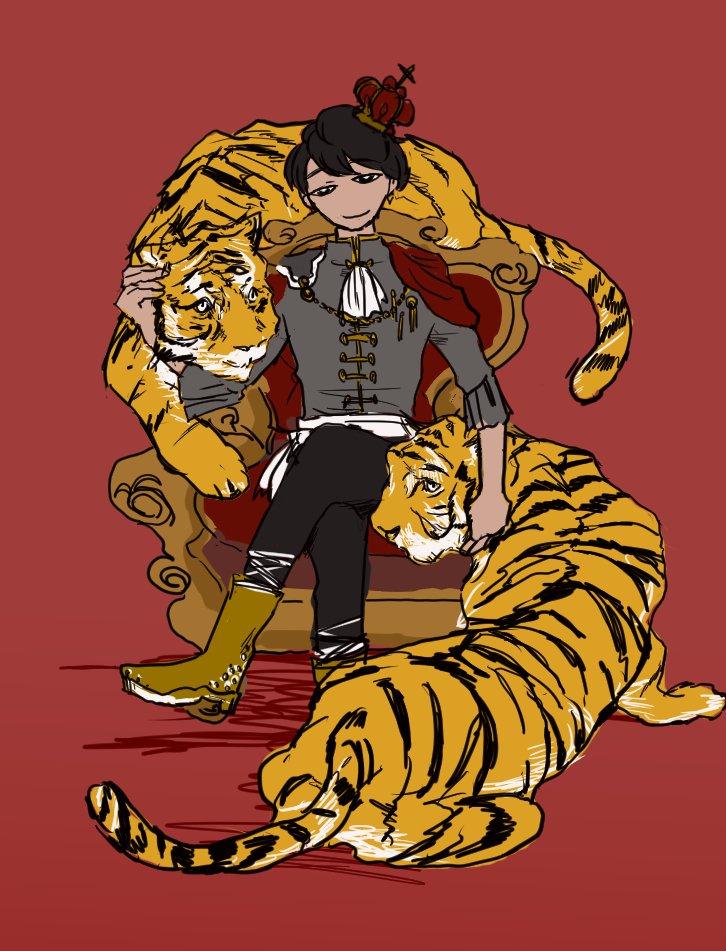 #HIGH_LOW版深夜の真剣お絵描き60分一本勝負 #大遅刻山王は二匹の虎が希望の王冠を守るように