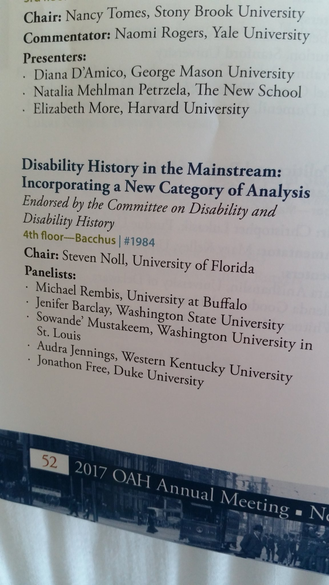 "Next up is ""Disability History in the Mainstream: incorporating a new category of analysis"" #OAH17 #p1984 https://t.co/R58unDnUuH"