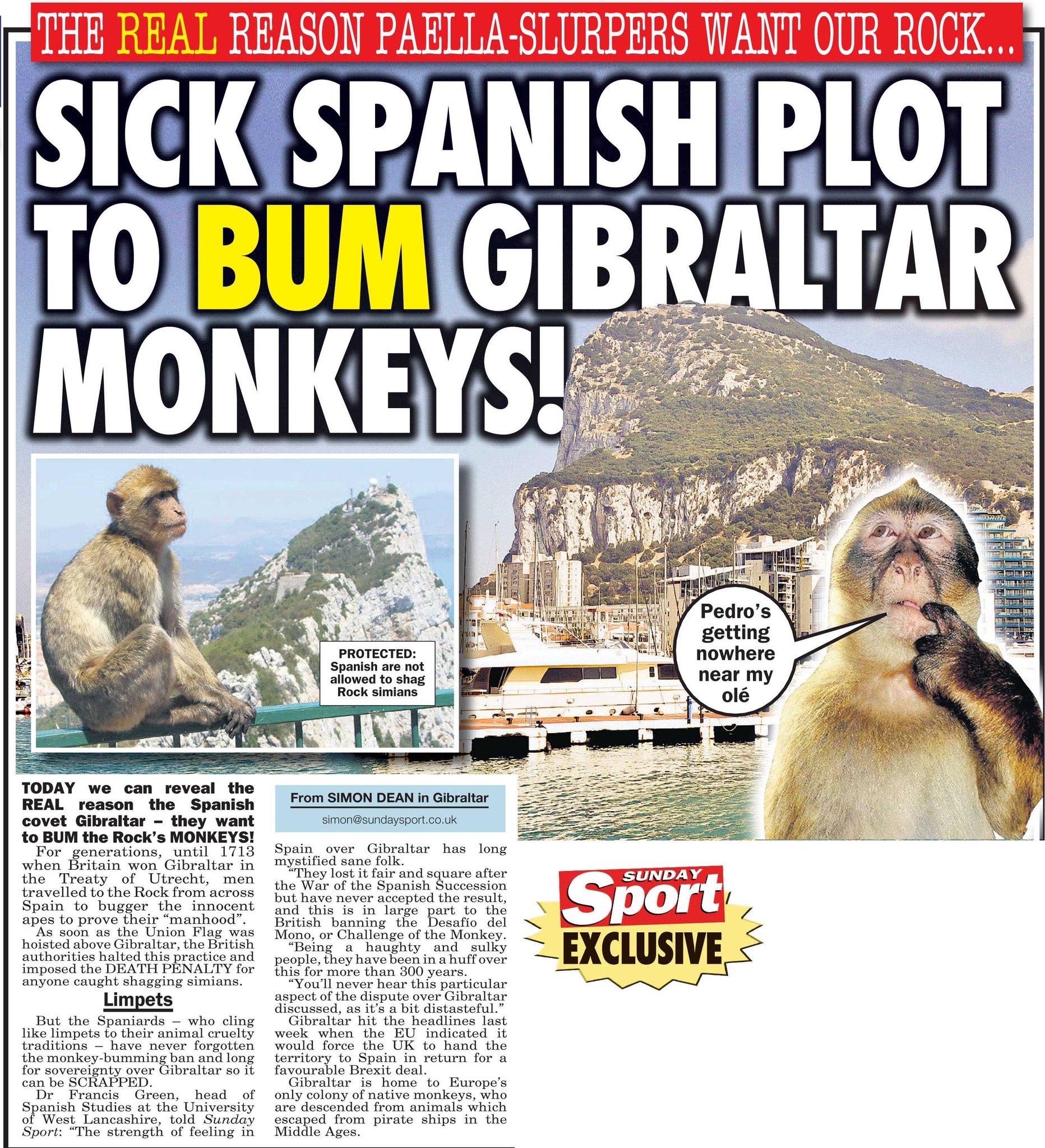 "Sunday Sport on Twitter: ""Gibraltar row latest - Spanish ..."