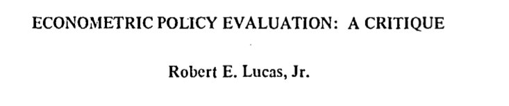 "1/I've been unsuccessfully trying to track if/when ""The Lucas Critique"" emancipated from Lucas 76 and have been weaponized in macro debates https://t.co/WbgRbgm1Yk"