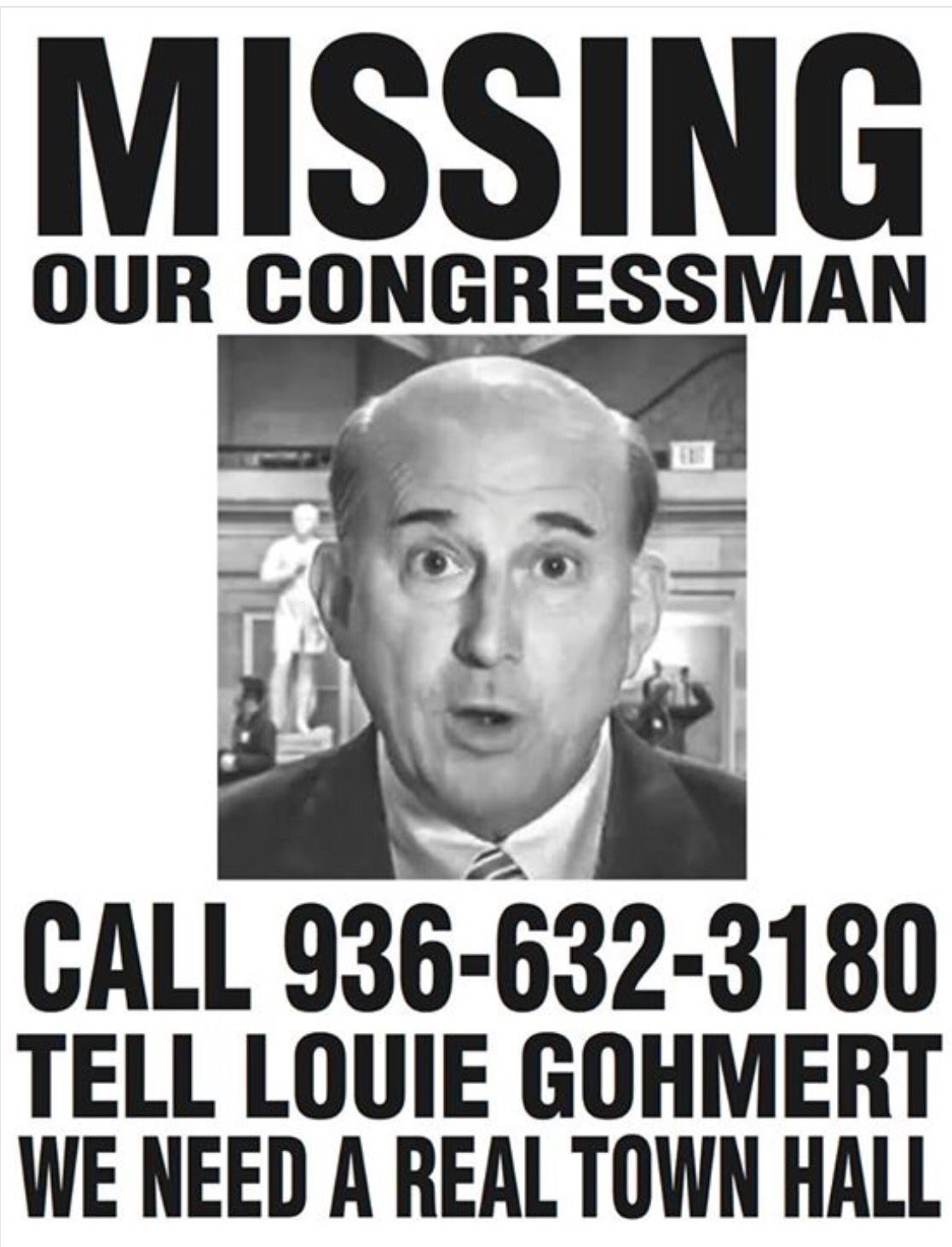 Has anyone seen our rep Louie Gohmert? We've been searching for him! HELP us locate our Rep!? Please RT this!! https://t.co/wujkYWs27J