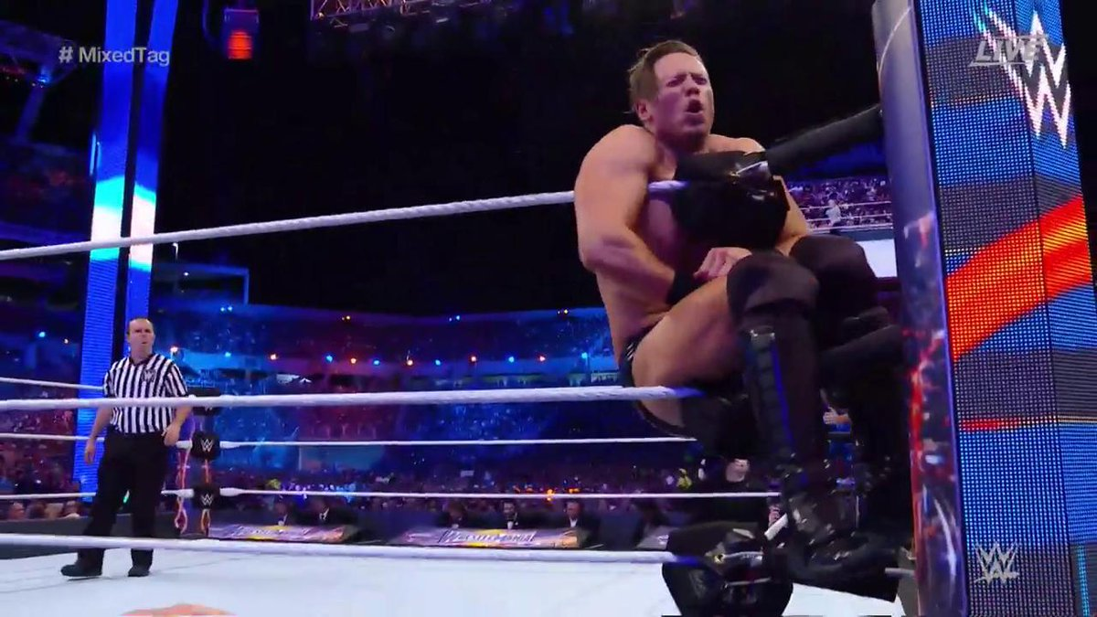 Looks like @mikethemiz just ran into a turning point in this one... #WrestleMania #MixedTag <br>http://pic.twitter.com/jJcCJRN5jn