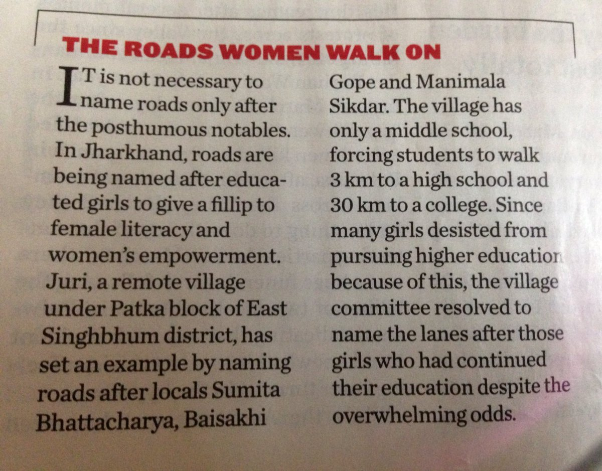 In Jharkhand, they are naming roads after educated girls to promote literacy. Fantastic. https://t.co/FrsEomv2W0