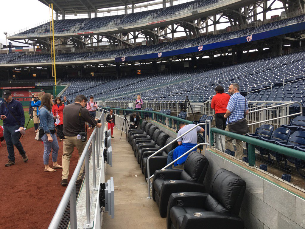 New at NATS ballpark --8 field level seats 1st base line controlled solely by MGM Casino.  Nats tour today. #NBC4DC <br>http://pic.twitter.com/mErHlezZsD