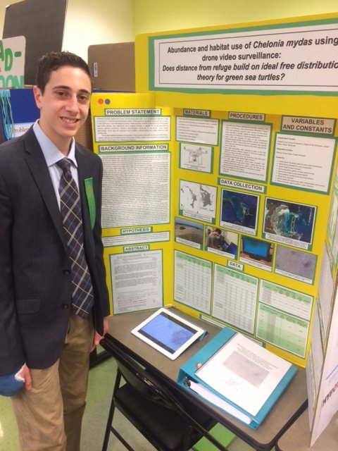 Good luck to high school student Michael Odzer who is presenting work he did with us on #UAVs and #greenturtles at #SSEF this week! pic.twitter.com/4W5y8Q2h1m