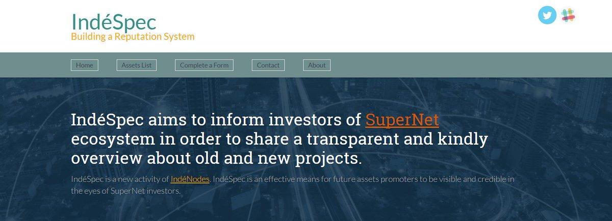 IndéSpec - Building a Reputation System.  https:// indespec.info / &nbsp;   #Komodo #SuperNET #startup #investors #blockchain <br>http://pic.twitter.com/FwQN8Zu3bT