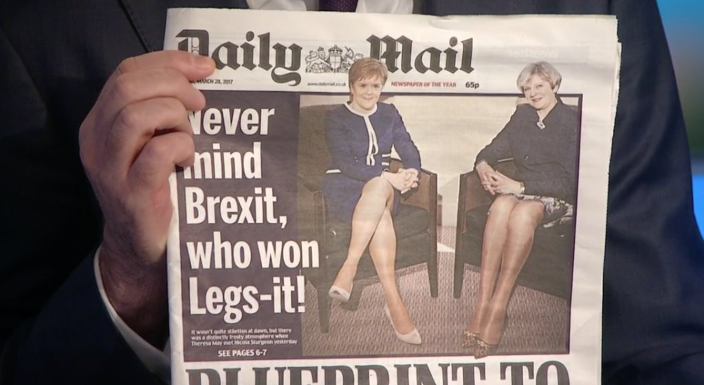 Daily Mail headline focuses on British leaders' physical attributes; i...