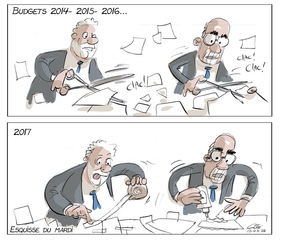 Budget #Leitao On coupe ! On coupe ! on coupe ! On recolle pour que ça tienne jusqu&#39;à l&#39;élection de 2018... Et on recommence! #PLQ <br>http://pic.twitter.com/6zxVQ16DdU
