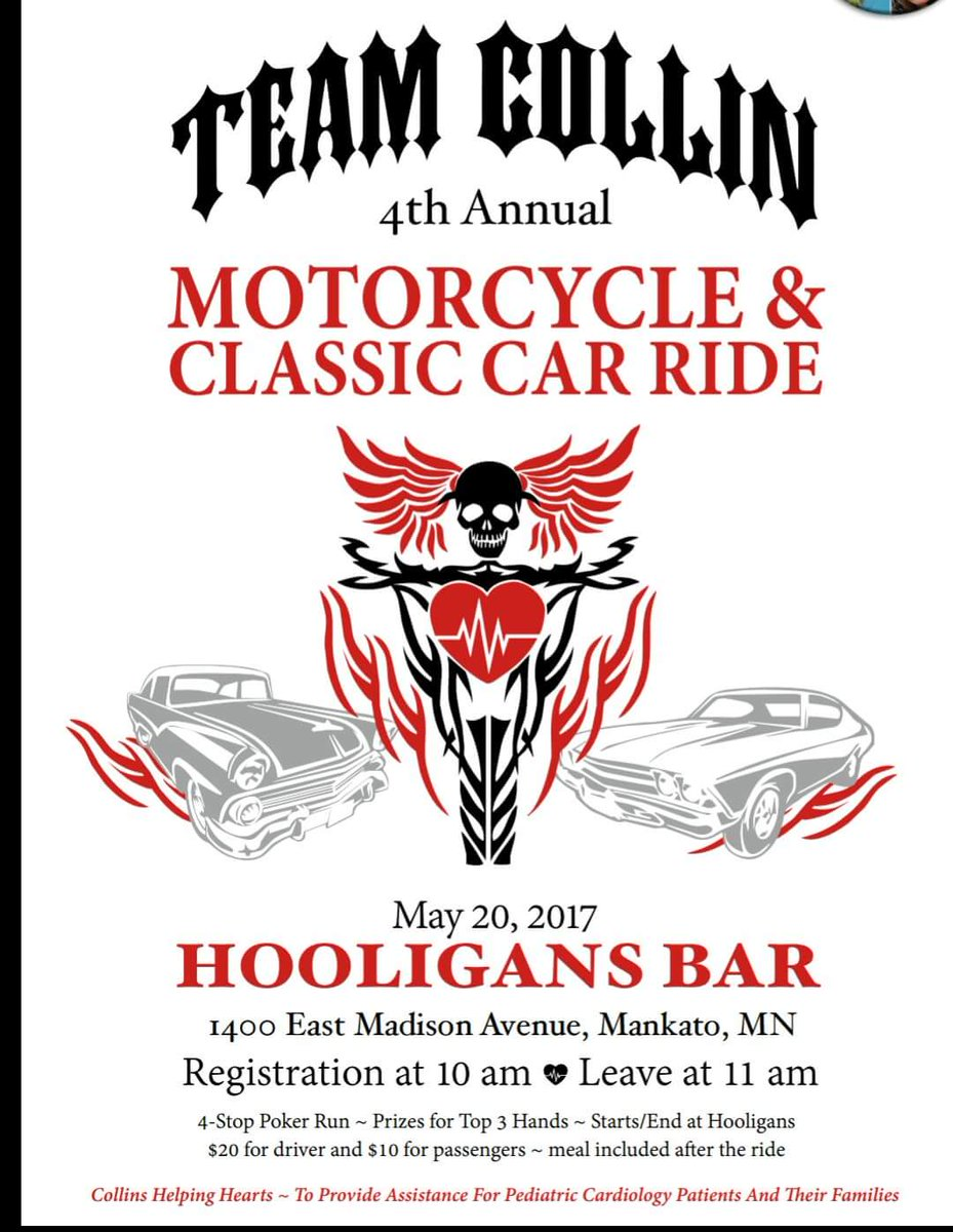 May 20 in Mankato, MN Team Collin Annual Motorcycle and Classic Car Ride biker event charity