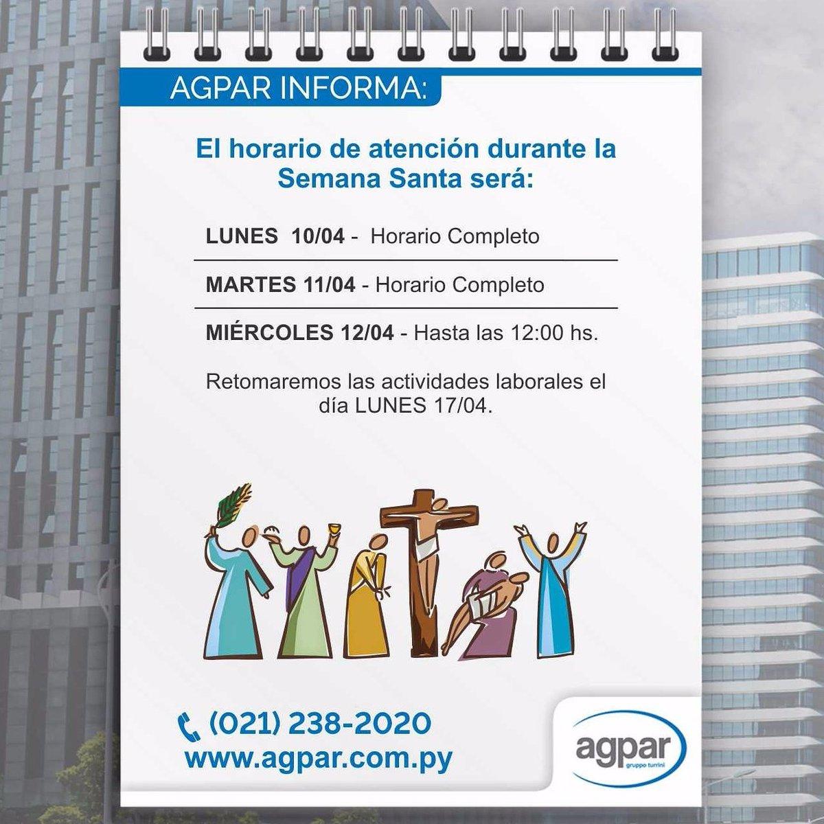 ⚠ Importante! Nuestro #horario de #SemanaSanta en #Agpar https://t.co/ltHoOV2q0O