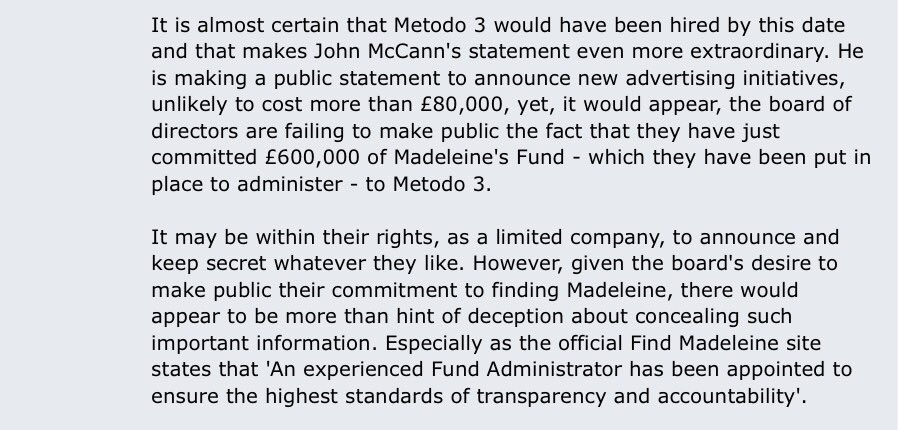 The #mccann fund directors were lying to the public about what was being paid out #McCann #company #fraudulant #transparentnot #fraud<br>http://pic.twitter.com/7rzfGFIQ3n