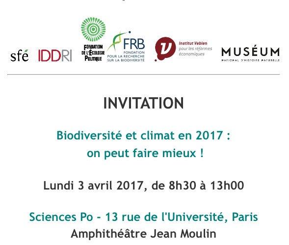 #Biodiversité et #climat en 2017 : on peut faire mieux ! RDV : Lundi 3 avril 8h-13h @sciencespo -&gt;  https:// goo.gl/GOPhZl  &nbsp;     #climatechange<br>http://pic.twitter.com/MIMK9PA9PL
