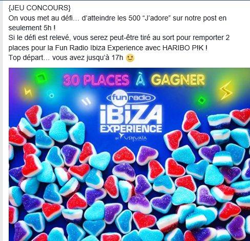 allez sur la page Facebook d&#39;@HariboPIK et au 500ième &quot;j&#39;adore&quot;,  tentez de  remporter 2 places pour la Fun Radio Ibiza Experience  #Ibiza <br>http://pic.twitter.com/ObTmDcAIVw