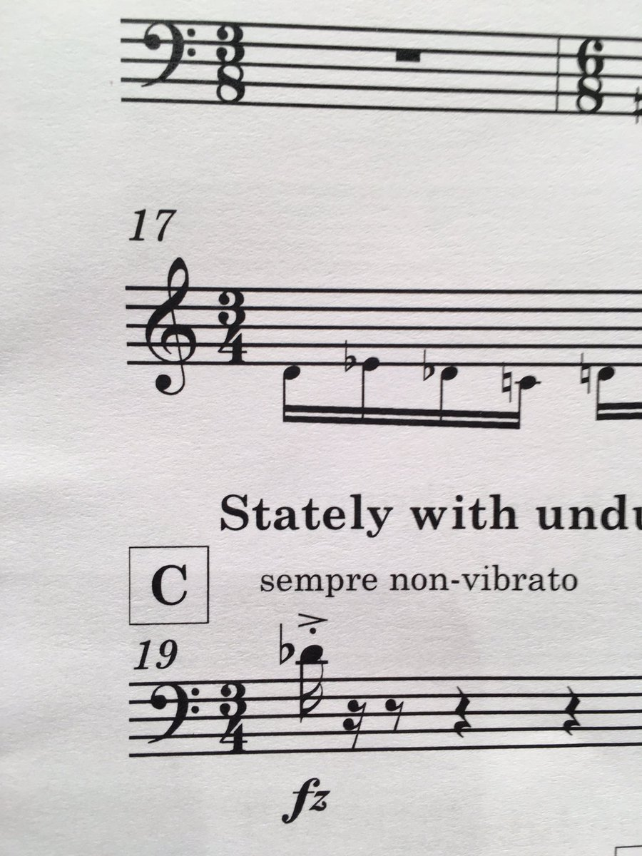 Interesting marking - not sure there&#39;s time for vibrato ! #trombone #musician #musichumor #orchestra #nonvibrato #imconfused<br>http://pic.twitter.com/UA2pKboOFd