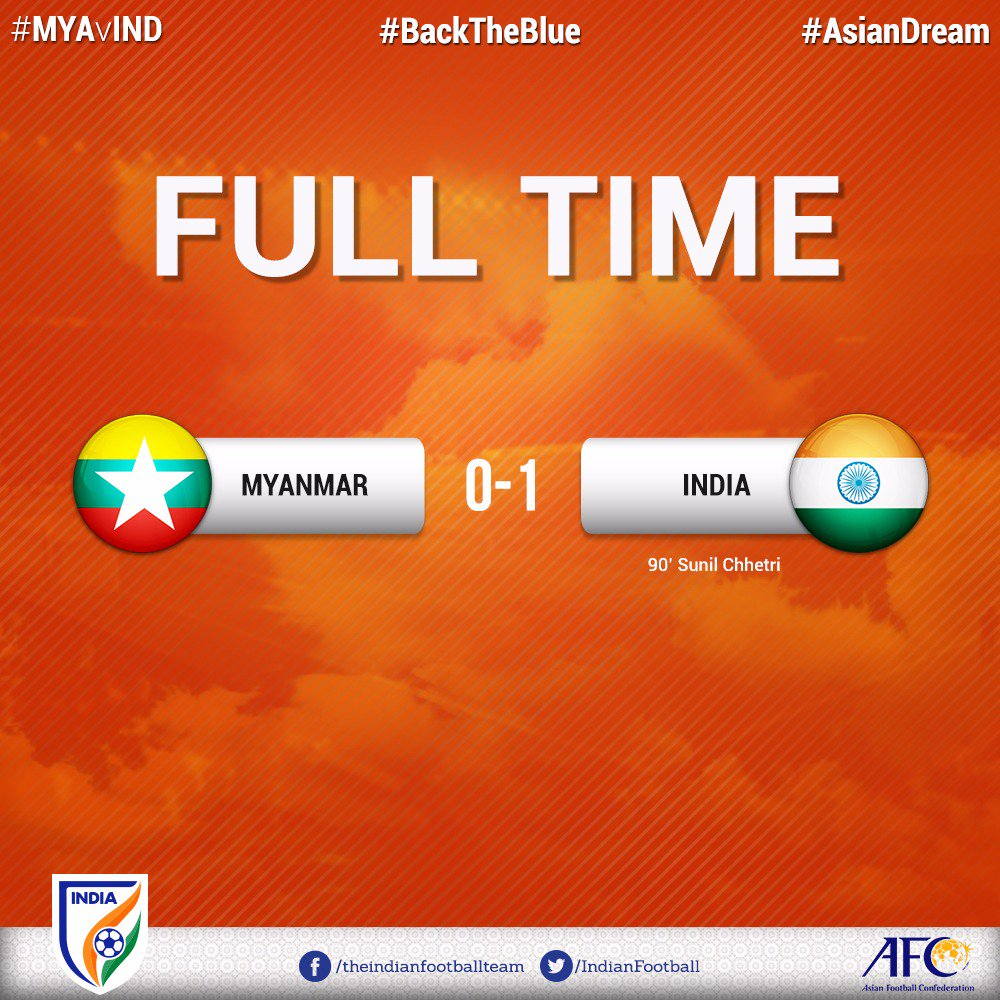 India ends a 64-year long wait to defeat Myanmar at their home, with @chetrisunil11 scoring the winner. #MYAvIND #BackTheBlue #AsianDream<br>http://pic.twitter.com/3CjCt99KKa