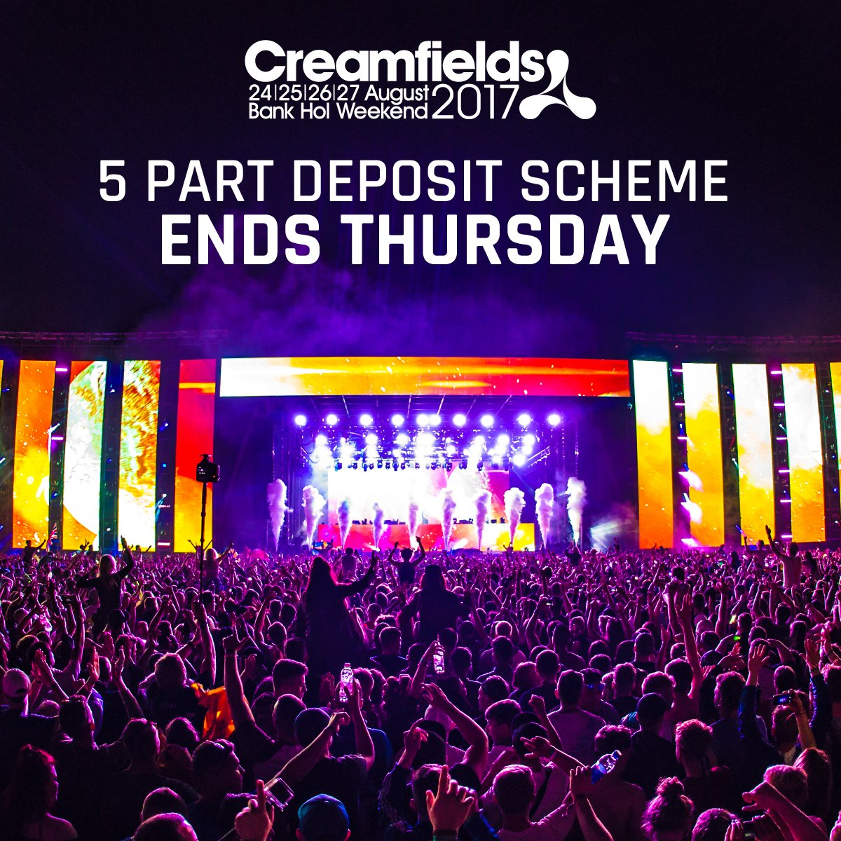 #Creamfields2017 - The FULL Line-up  Like & RT for a chance to win 5 x Gold 4 Day Camping Tickets https://t.co/KBlZcVFm5L
